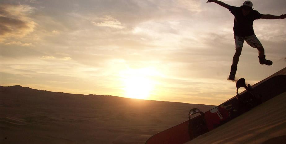 Sandboarding in the Sahara Desert Merzouga, Morocco